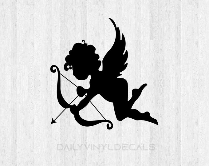 Baby Cupid Decal Baby Cupid Sticker - Valentines Day Decal Car Decal Laptop Decal etc *Choose Size & Color* Valentine Heart Love Decal