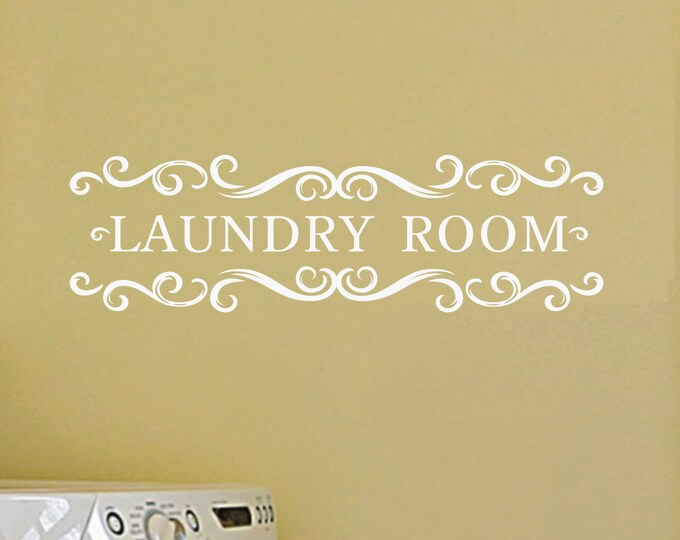 Laundry Room Vinyl Wall Decal - Vintage Style Wall Decal Wall Vinyl - Laundry Room Sign - Home Decor Wall Art Sticker