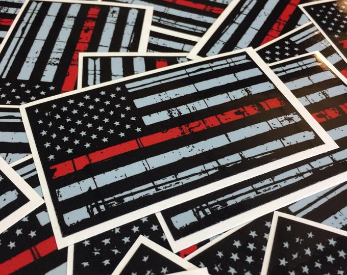 Thin Red Line American Flag Sticker - Distressed American Flag Decal - Thin Red Line Sticker - Show your support for fellow firefighters!