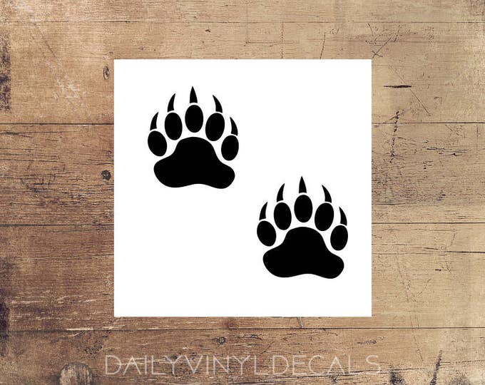 Bear Paw Print Decals Set of 2  *Choose size & color* Bear Claw Decal Bear Claw Stickers Black Bear Polar Bear - Wild Bear Tracks
