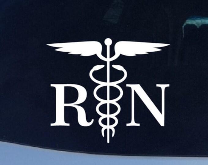 RN Registered Nurse Vinyl Decal -  Caduceus Healthcare Nurse Doctor Symbol Vinyl Decal - Hospital Wings Snake Vinyl Stickers Logo Decals