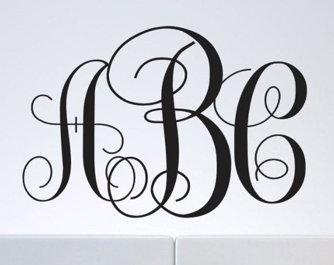 Custom Monogram Wall Decal - Monogram Letters Custom Monogram Wall Decal - Home Decor Vinyl Wall Decals - Personalized Initials
