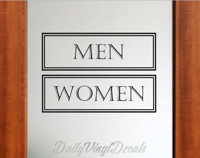 Men and Women Restroom Decals - Set of 2 Decals - *Choose Size & Color* Mens Room Decal Women Bathroom Decals - Bathroom Sign Decal