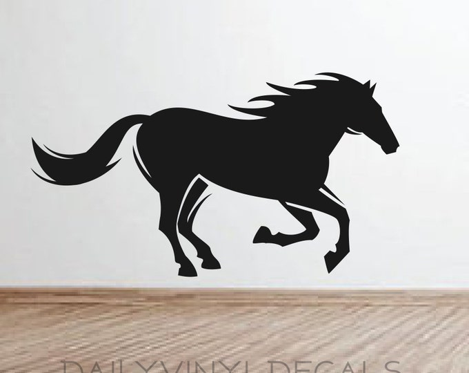 Wild Horse Vinyl Decal *Choose Size & Color* Horse Vinyl Wall Decal - Running Horse Steed Stallion Pony Mustang Mare Bronco Horse Sticker