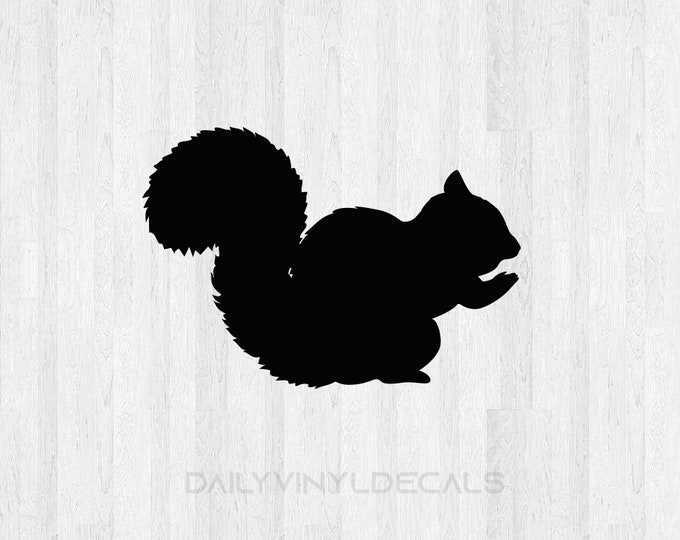Squirrel Decal Squirrel Sticker - Wild Animal Decals Chipmunk Squirrel Silhouette Decal - Squirrel Silhouette Sticker