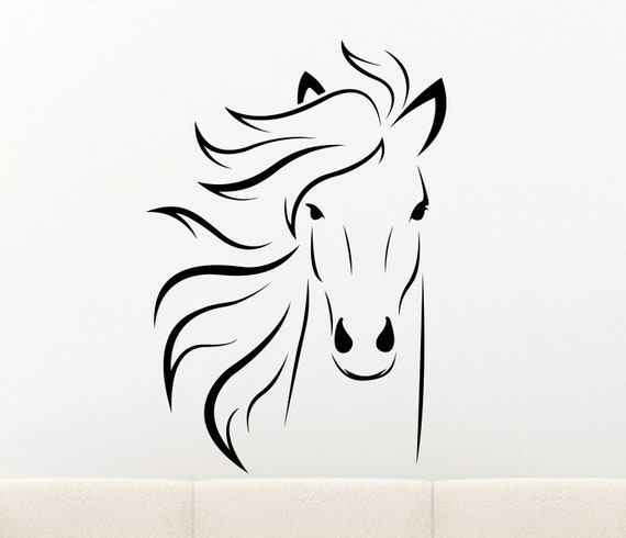 Horse Vinyl Wall Decal - Horse Decal - Horse Wall Decal *Choose Size & Color* Horse Head Decal - Home Decor Decals etc.