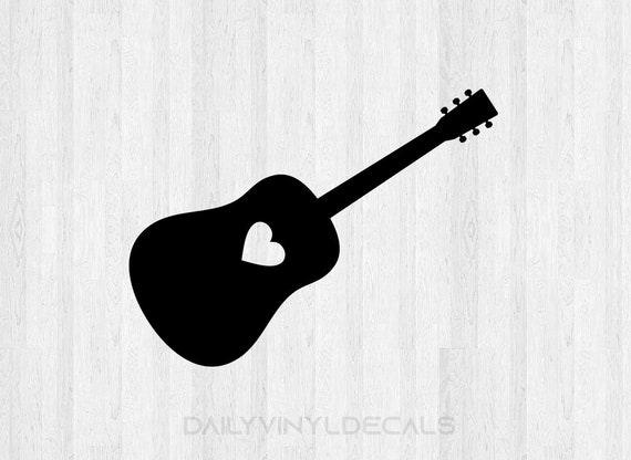 Acoustic Guitar Decal Acoustic Guitar Sticker *Choose size and color* Acoustic Guitar with Heart - Love Music Decal Car Laptop Decal Etc.