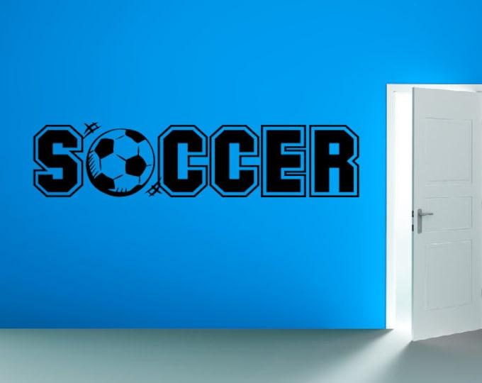 Soccer Decal Soccer Wall Decal - Vinyl Wall Art Sticker - Soccer Ball Childrens Bedroom Playroom Decor Vinyl Wall Decals