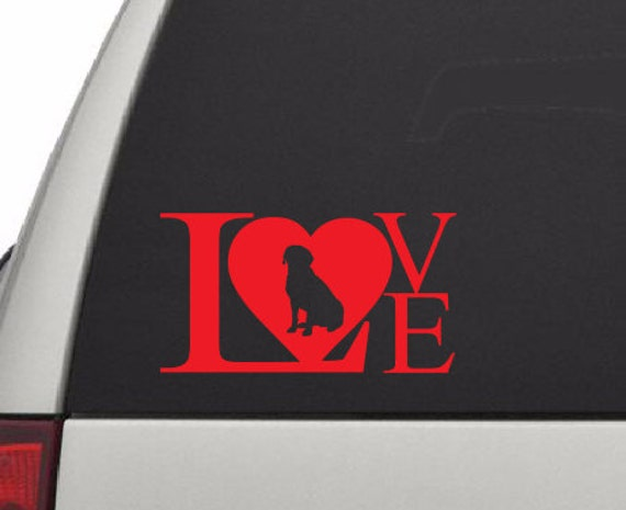 Labrador Love Vinyl Decal *Choose Size & Color* Labrador Dog Love Vinyl Decal - Dog Pet Animals Mans Best Friend - Family Dog