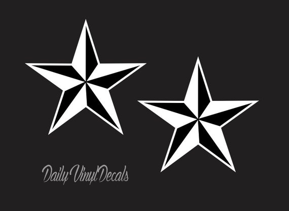 Nautical Star Decals 2 Pack *Choose Size & Color* Nautical Star Decal - Two Dimensional Star Stickers Symbolic Star Car Laptop Decal etc