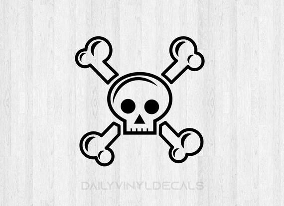 Skull Decal - Skull Sticker Skull and Crossbones Decal - Cartoon Skull Decal Cute Skull Cute Skeleton - Di Cut Vinyl Decals