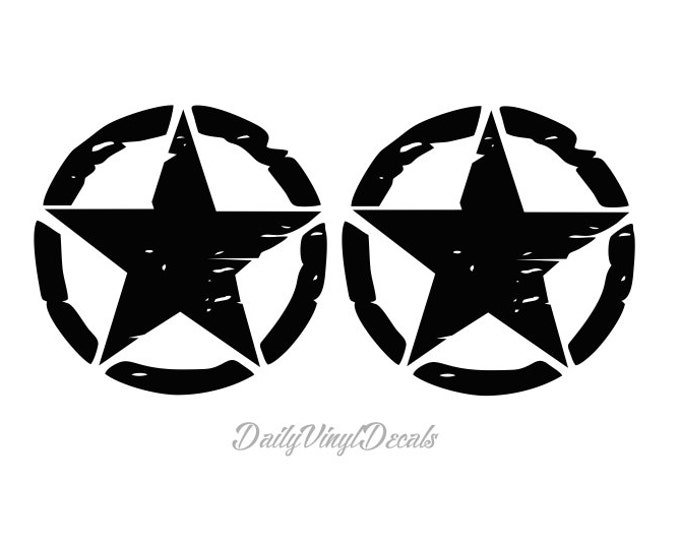 Set of 2 LARGE Distressed Star Decals - Jeep Wrangler Willys Stars Jeep Rubicon YJ TJ Limited Sport Jeep Stars - Jeep Decals Jeep Stickers