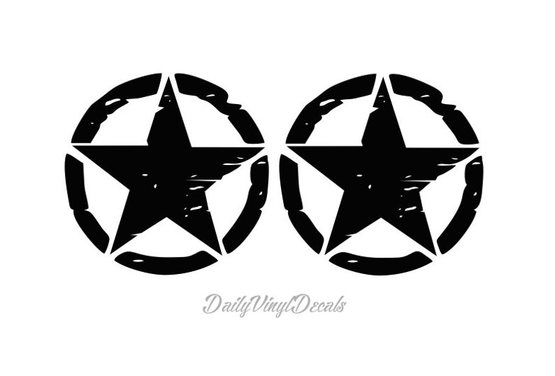 Set of 2 LARGE Distressed Star Decals  Jeep Wrangler Willys image 0