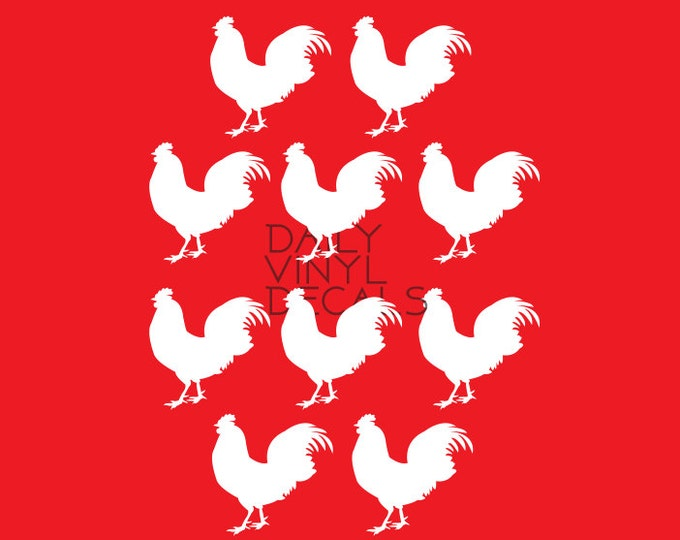 Detailed Rooster Decals - Set of 10 Decals - Rooster Vinyl Sticker Silhouettes - Farm Animals Barn Decor - Quality Rooster Decals