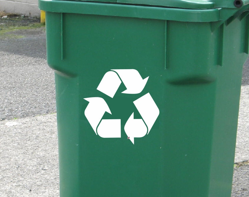 Set Of 2 Recycle Symbol Vinyl Decals Recycle Decals Choose Size