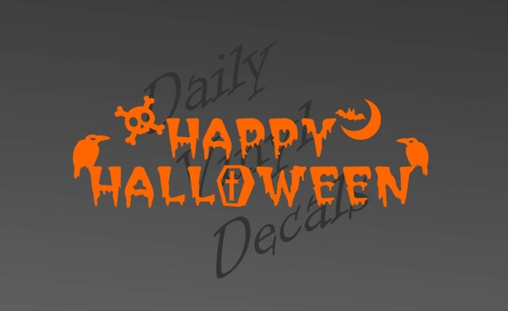 Happy Halloween Decal *Choose Size & Color* Happy Halloween Vinyl Decal - Apply to any clean smooth surface, doors, walls, windows etc