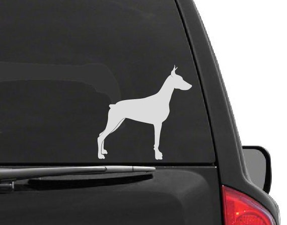 Doberman Dog Silhouette Vinyl Decal *Choose Size & Color* Dog Decals - Dog Vinyl Stickers - Doberman Dog Silhouette Decal Decor