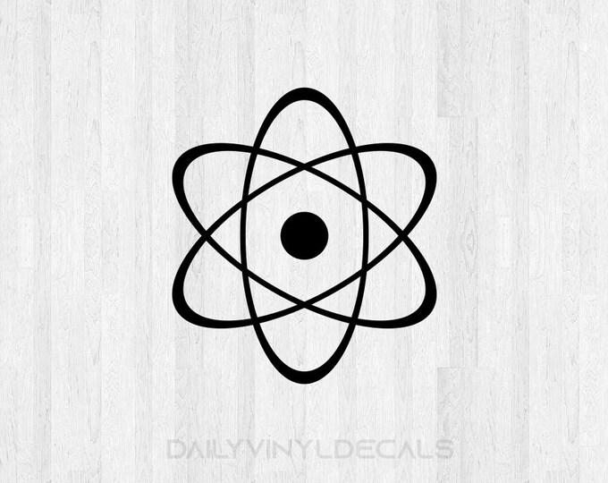 Atomic Decal Atomic Sticker - Atomic Symbol Decal Atomic Nucleus Decal - Science Sticker Car Decal Laptop Decal