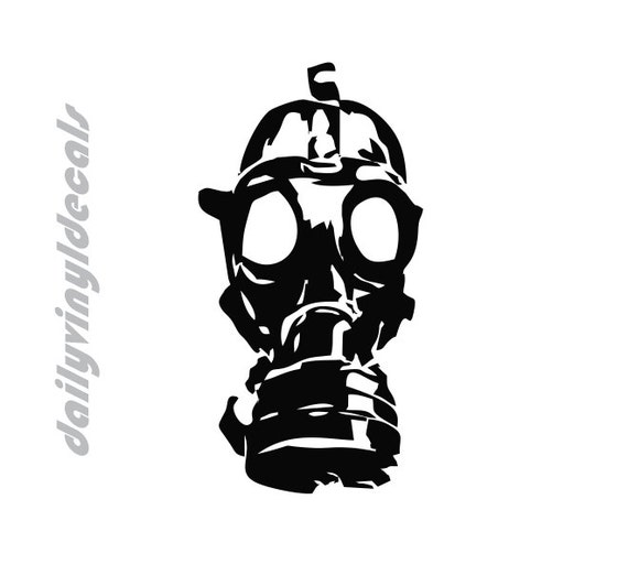 Gas Mask Decal *Choose size & color* - Gas Mask Sticker - Distressed Gas Mask Decal Gas Mask Artwork - Vinyl Decals Vinyl Stickers