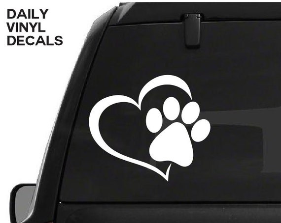 Paw Print Heart Decal - Paw Prints Love Vinyl Sticker - Love Your Pet Dog Cat Paws Etc. *Choose Size & Color* Paw Print Heart Sticker