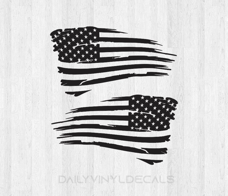 Distressed American Flag Decals Choose Size & Color image 0