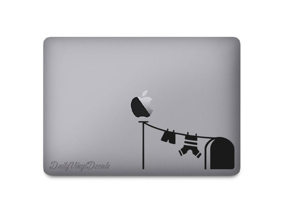 Mouse Hole Laptop Decal *Choose Size & Color* Cartoon Mouse House Door and Laundry String - VinylDecals - Funny Fun Speedy Gonzales Inspired