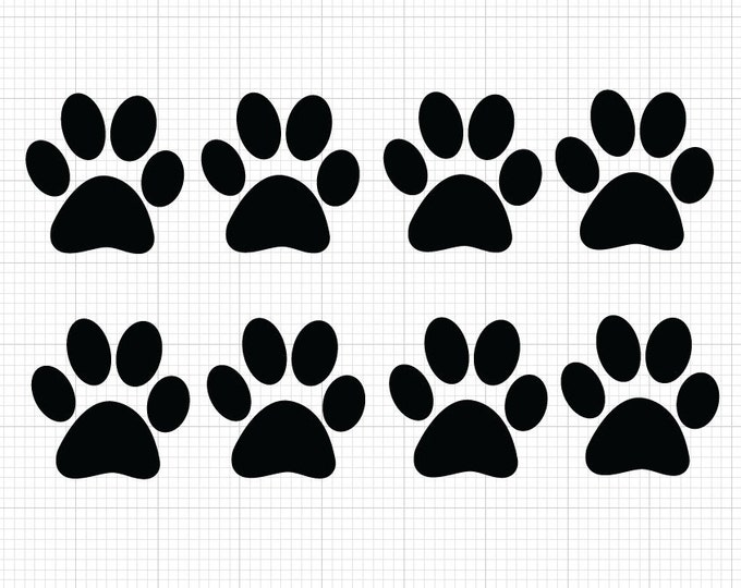 8 Pack Paw Print Decals *Choose size & color* Paw Print Vinyl Stickers - Dog Prints Cats Print Pets Animals - Paw Print Sticker Animal Lover
