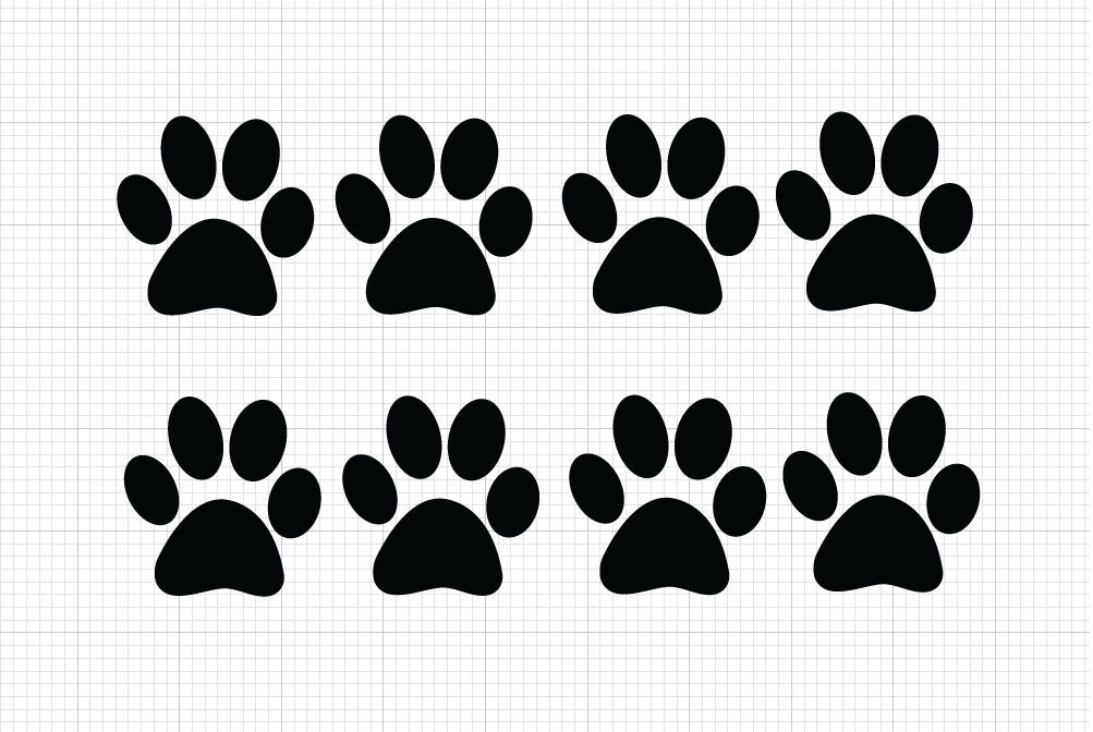 8 Pack Paw Print Decals Choose Size Color Vinyl Stickers