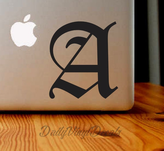 Old English Letter Vinyl Decal - Any Letter - Old English Font Style Sticker - Personalized Car Truck Laptop Single Letter Monogram Decal