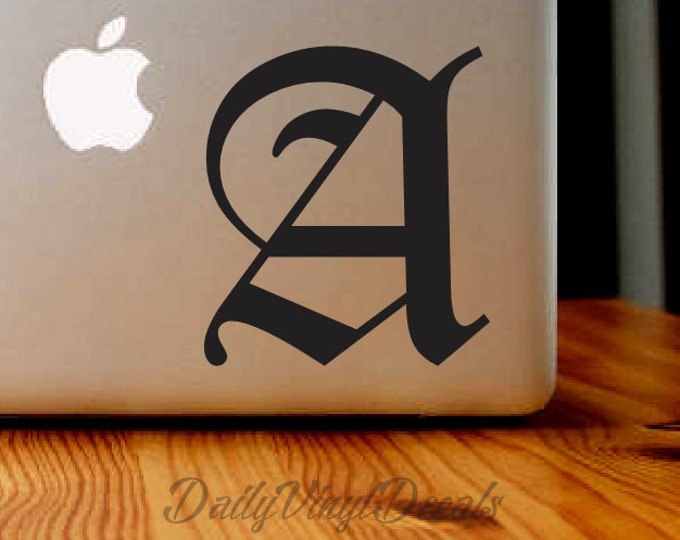 Old English Letter Decal   Old English Sticker Lettering   Personalized Lettering Car Truck Laptop Decal Letter Monogram Name Initial Letter