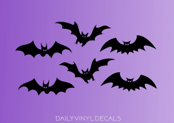 Bat Vinyl Decals Pack - Set of 6 Bat Decals - Bat Stickers - Bat Silhouette Vinyl Stickers - Halloween Batman Bats Decor