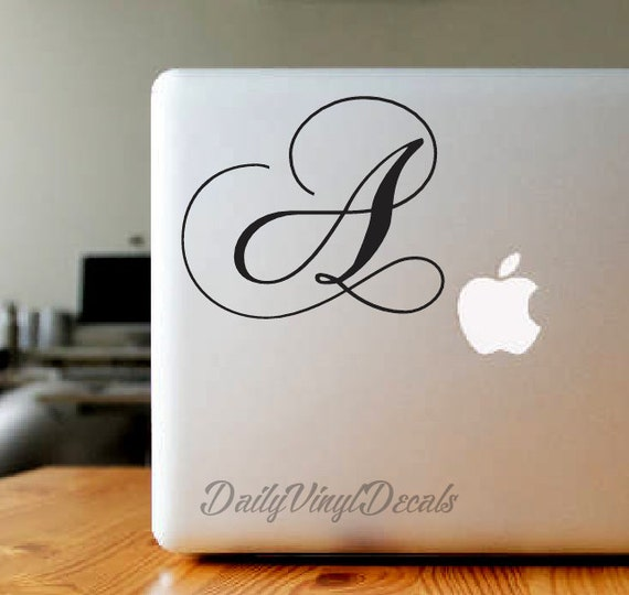 Cursive Letter Vinyl Decal - Name Initial Sticker *Choose Size & Color* Fancy Script Font Style - Initials , Lettering , Macbook Decals etc.