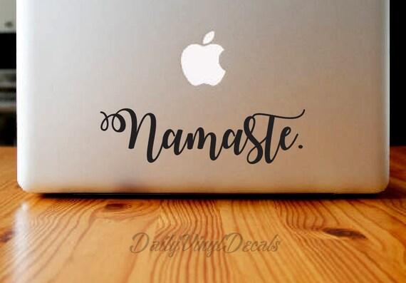 Namaste Vinyl Decal - Macbook Decal - Laptop Sticker *Choose Size & Color* Namaste Vinyl Car Decal - Vinyl Skins Lettering Decal