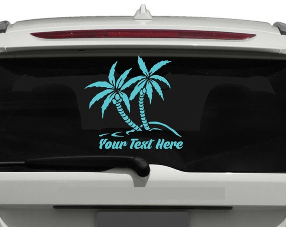 Custom Palm Trees Vinyl Decal *Enter Custom Text, Size and Color* Palm Tree Sticker - Apply to any clean smooth surface! Beach Stickers