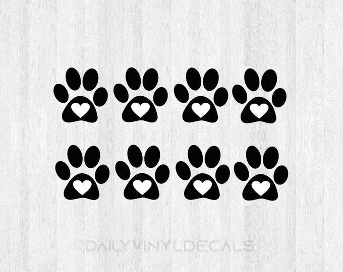 8 Pack Paw Print Heart Decals Paw Print Decals - Dog Prints Cats Print Pets Animals - Paw Print Heart Sticker Paw Sticker Heart Decak