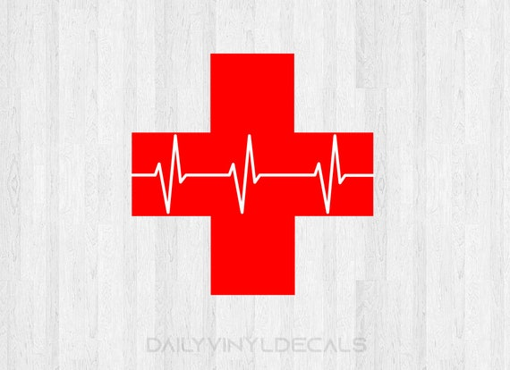 Medical Cross Decal - Medical Cross Sticker with Heartbeat EKG Line Decal Hospital Cross Doctor Nurse Health Care Decal First Aid Decal