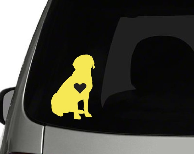 Labrador with Heart Vinyl Decal *Choose Size & Color* Dog Decals - Dog Vinyl Stickers - Heart K9 Animals Pets Labrador Love Vinyl Sticker