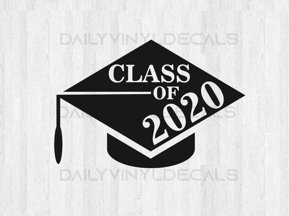 graduation Senior Class of 2020 Decal Sticker 6 wide senior 2020 White for car windows