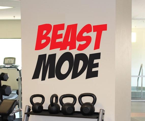 Beast Mode Decal - Vinyl Wall Decal - Beast Mode Sticker Motivation Fitness Gym Decor - Motivational Beast Mode Wall Decal