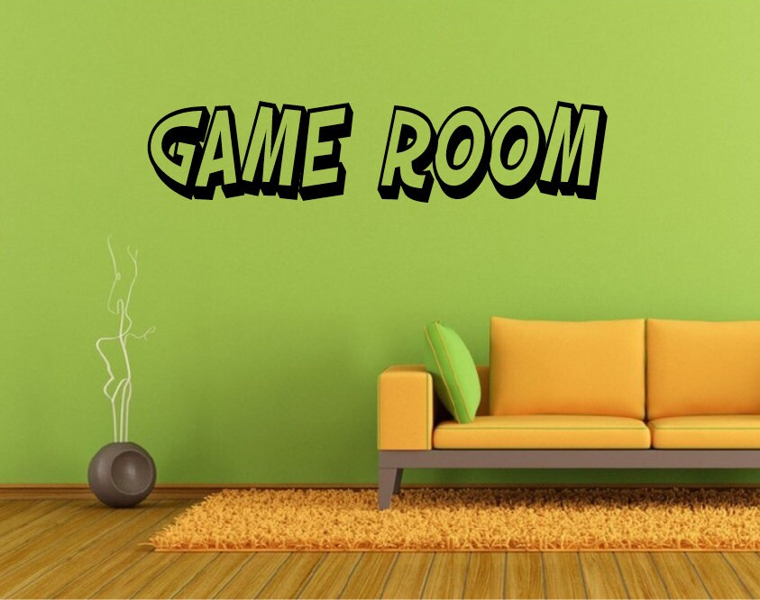 fun lettering game room wall decal *choose size & color* game room
