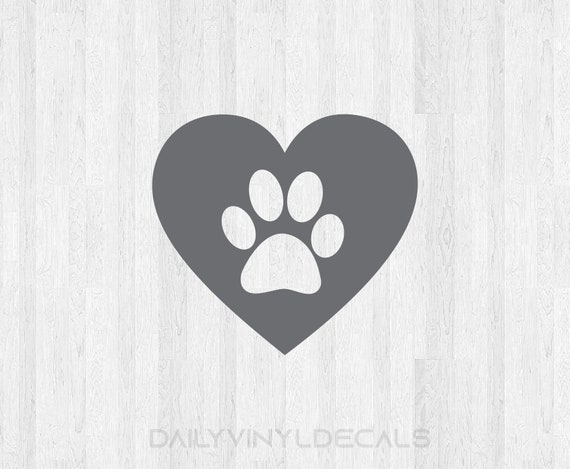 Set of 2 Paw Print Heart Decal - Paw Print Heart Sticker - Dog Decal Dog Sticker - Dog Love Decal - Animal Love - Car Truck Laptop Decal