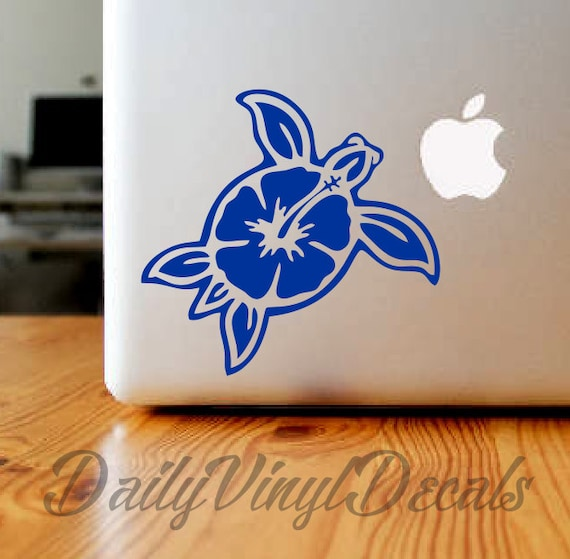 Sea Turtle Decal Sea Turtle Sticker *Choose Size & Color* Hibiscus Flower Decal Hibiscus Flower Sticker - Car Decal Laptop Decal