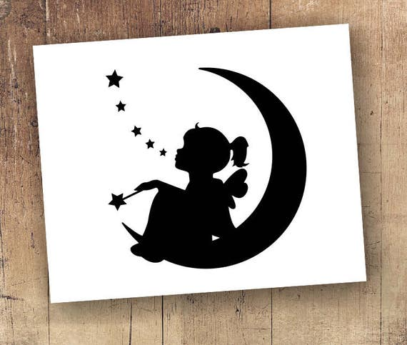 Make a wish decal Make a wish sticker - Wish Upon a Star Nursery Rhyme - Half Moon Child Wishing Upon the Stars Dream Sweet Dreams