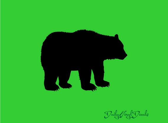 Bear Silhouette Vinyl Decal *Choose Size & Color* Bear Vinyl Sticker - Wild Animal Decals - Silhouette Decal Animals Nature Grizzly Bear Cub