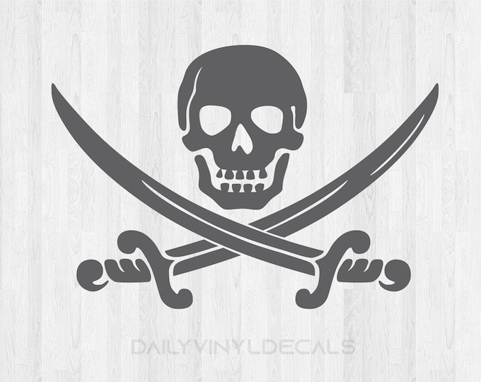 Skull Decal Pirate Decal *Choose size & color* Skull Sticker Pirate Sticker - Sword Decal Sword Sticker Pirate Skull