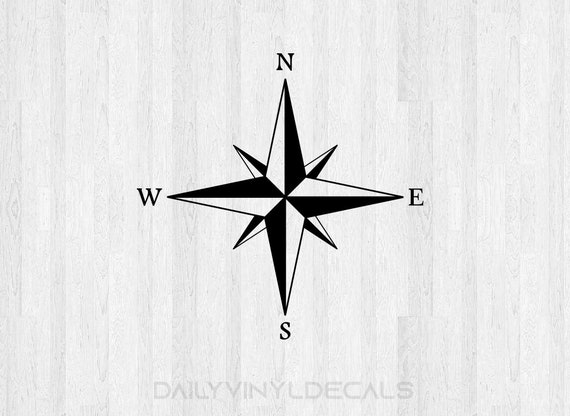 Compass Decal Compass Sticker - Compass Rose Decal - Windrose Decal - Map Compass Map Decal - Navigation - Compass Car Decal