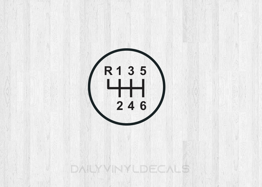 6 speed gear shift decal - 6 speed diagram - manual shift car stick shift -  5 speed manual transmission decal - car decal truck decal etc