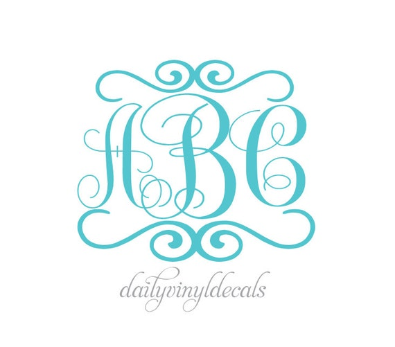 Swirly Monogram Design Vinyl Decal - Custom Monogram Decal - Your Name Initials Monogram - Stick Anywhere Cars Trucks Bikes Walls etc.