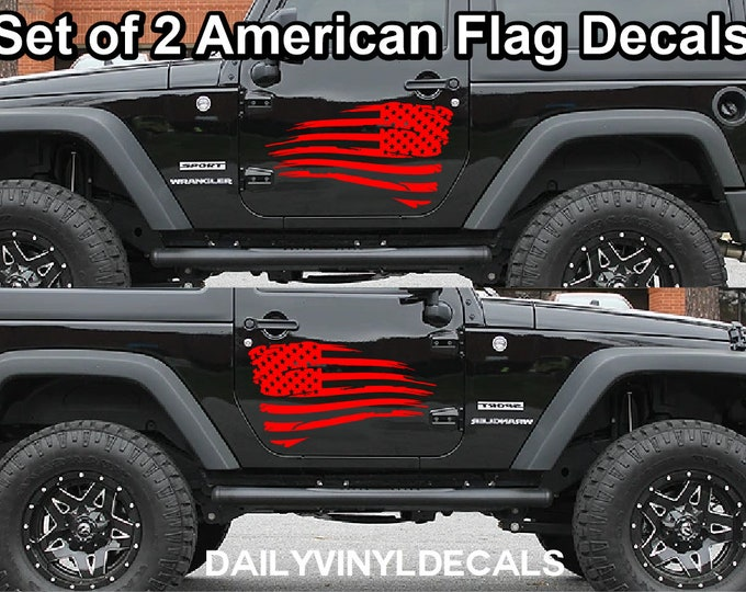 Set of 2 Distressed American Flag Decals *Choose Size & Color* Distressed American Flag Stickers - Car Decals Truck Graphics Truck Decals