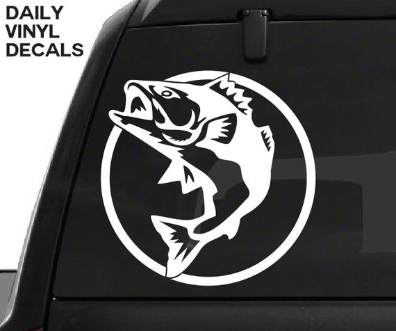 Bass Fish Decal - Wildlife Animals Fisherman Fishing Outdoors Decals - Car Truck Tackle Box Decal *Choose Size & Color* Large Mouth Bass